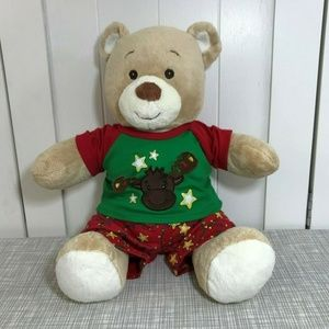 Build a Bear Tan Teddy Bear Soft Plush Christmas